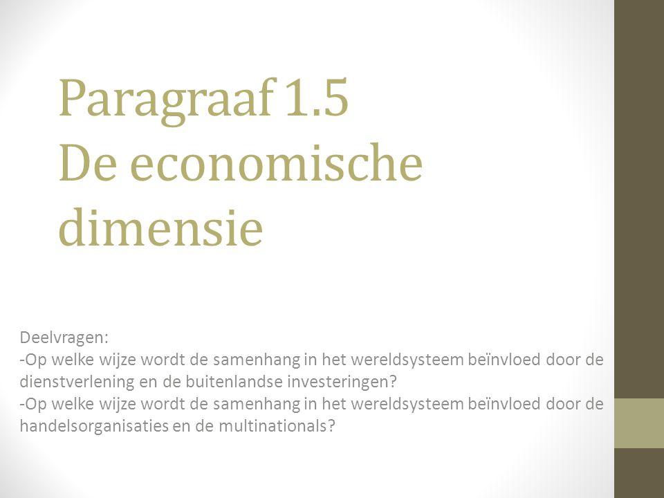 Paragraaf 1.5 De economische dimensie Deelvragen: -Op welke wijze wordt de samenhang in het wereldsysteem beïnvloed door de dienstverlening en de buit