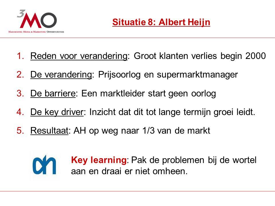 11 Situatie 8: Albert Heijn 1.Reden voor verandering: Groot klanten verlies begin 2000 2.De verandering: Prijsoorlog en supermarktmanager 3.De barriere: Een marktleider start geen oorlog 4.De key driver: Inzicht dat dit tot lange termijn groei leidt.
