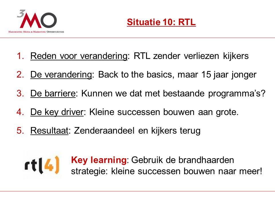 14 Situatie 10: RTL 1.Reden voor verandering: RTL zender verliezen kijkers 2.De verandering: Back to the basics, maar 15 jaar jonger 3.De barriere: Kunnen we dat met bestaande programma's.