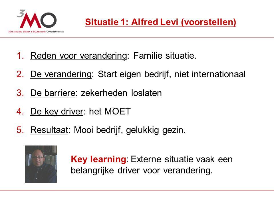 2 Situatie 1: Alfred Levi (voorstellen) 1.Reden voor verandering: Familie situatie.