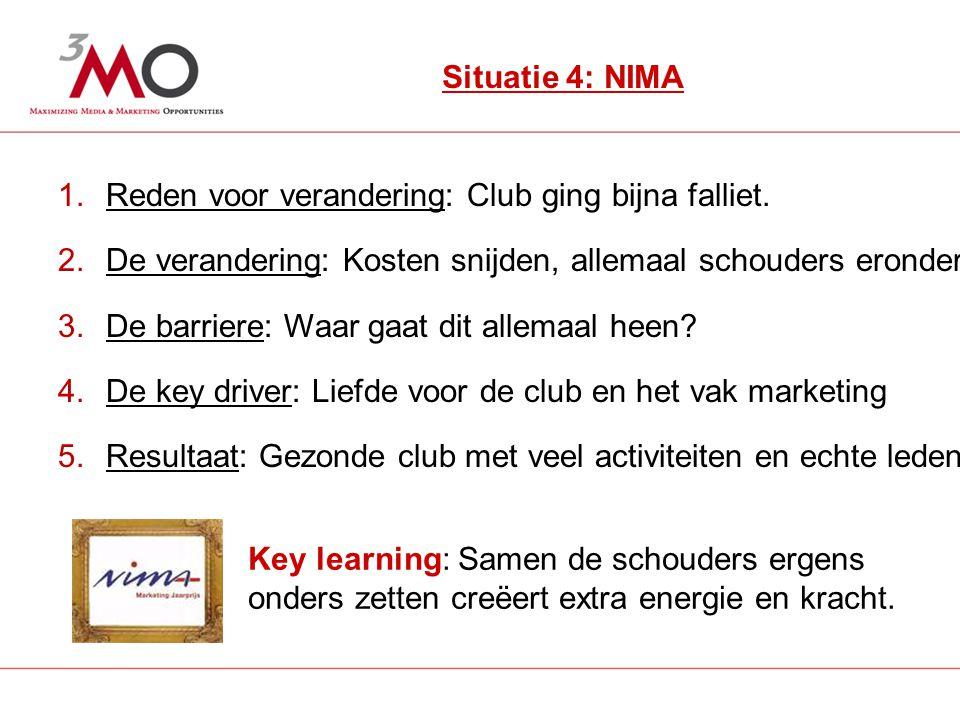 5 Situatie 4: NIMA 1.Reden voor verandering: Club ging bijna falliet.