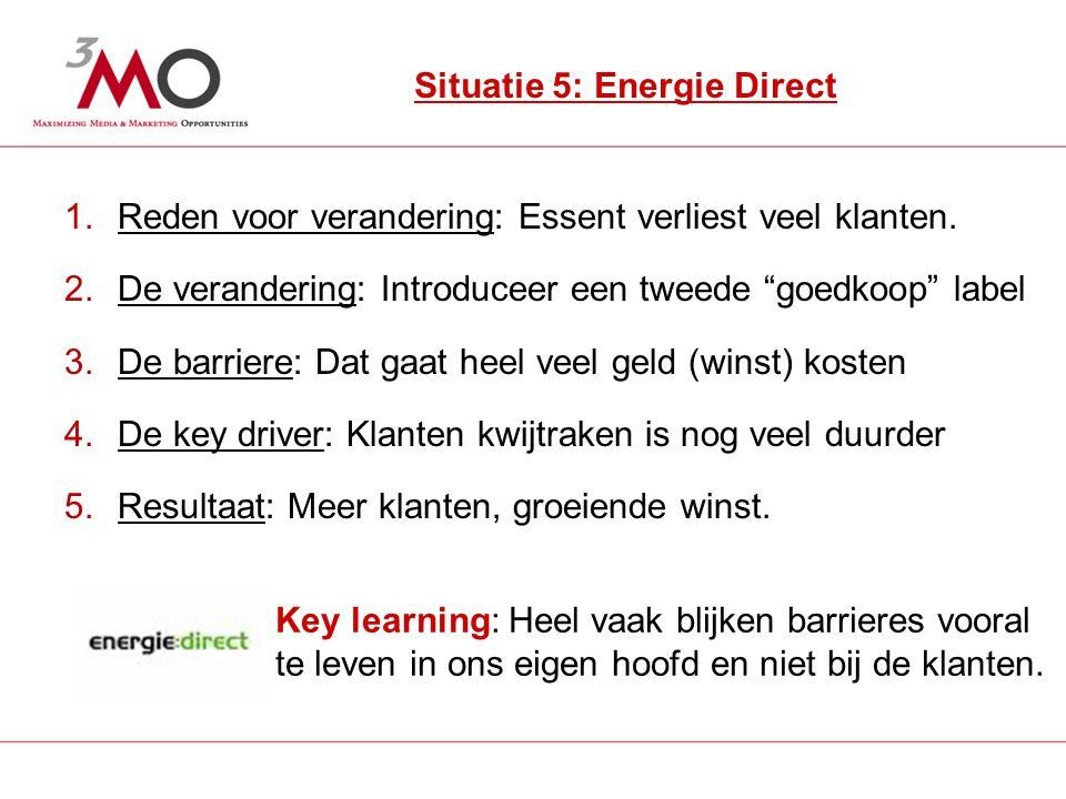 6 Situatie 5: Energie Direct 1.Reden voor verandering: Essent verliest veel klanten.