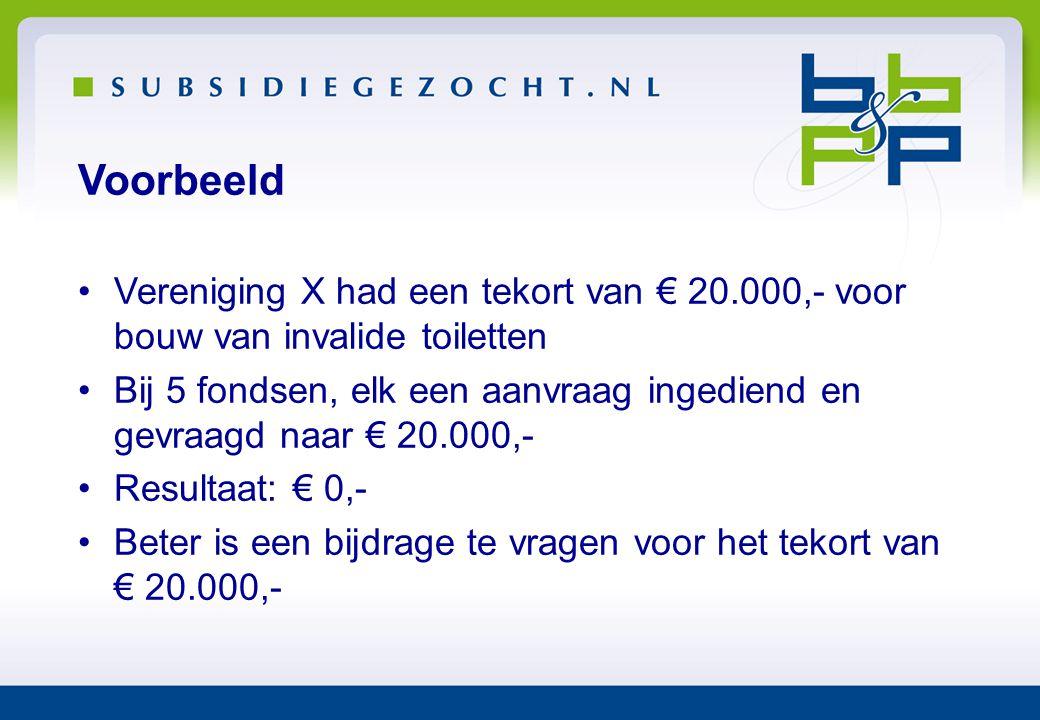 Voorbeeld •Vereniging X had een tekort van € 20.000,- voor bouw van invalide toiletten •Bij 5 fondsen, elk een aanvraag ingediend en gevraagd naar € 2