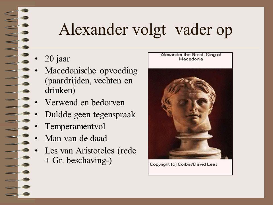 Alexander volgt vader op •20 jaar •Macedonische opvoeding (paardrijden, vechten en drinken) •Verwend en bedorven •Duldde geen tegenspraak •Temperamentvol •Man van de daad •Les van Aristoteles (rede + Gr.