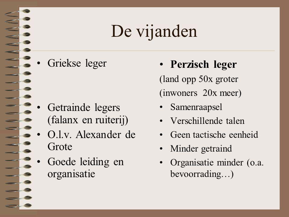 De vijanden •Griekse leger •Getrainde legers (falanx en ruiterij) •O.l.v.