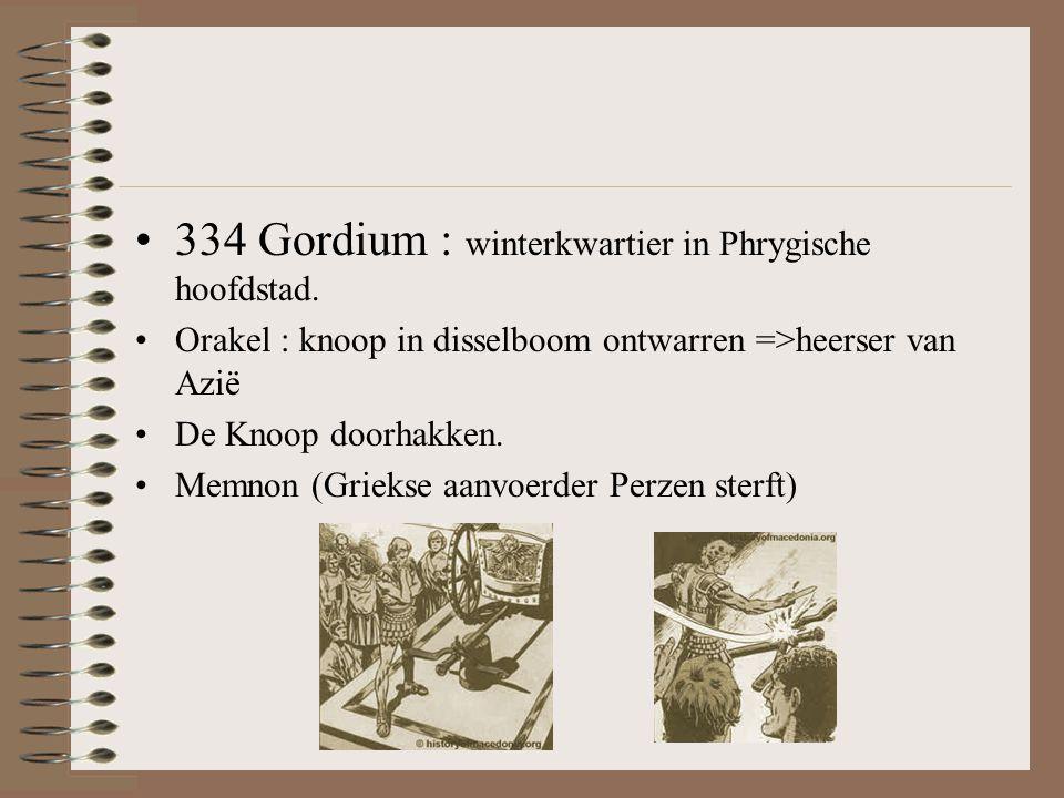 •334 Gordium : winterkwartier in Phrygische hoofdstad.