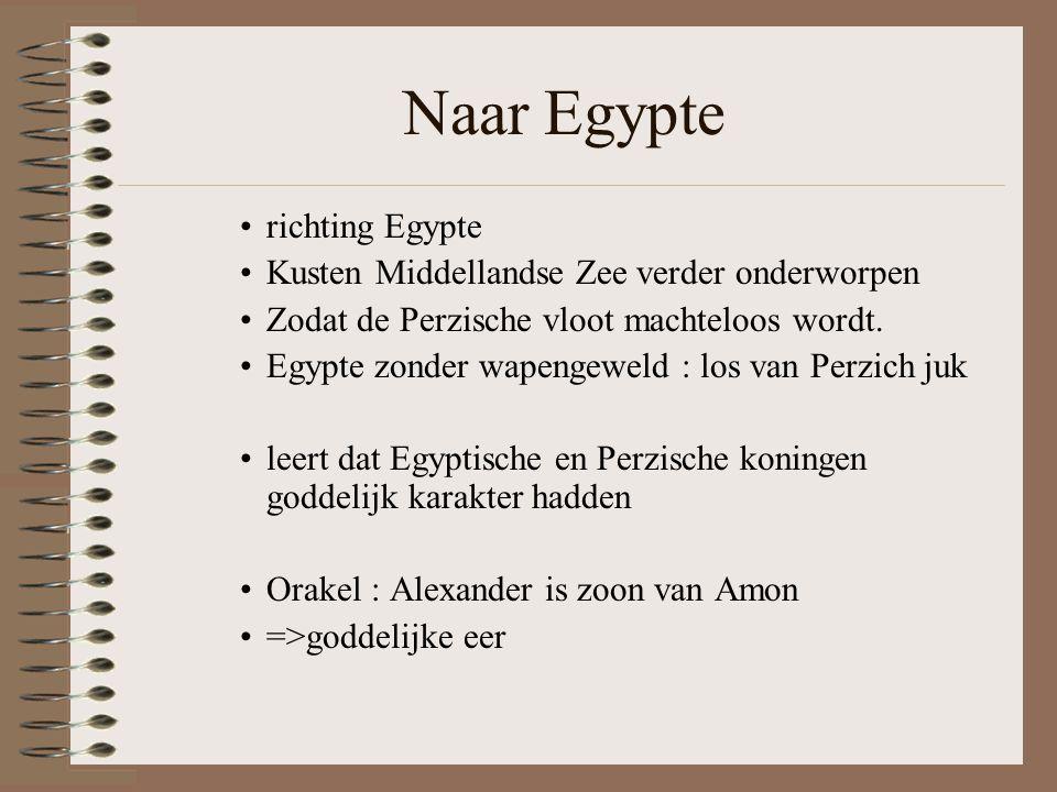 Naar Egypte •richting Egypte •Kusten Middellandse Zee verder onderworpen •Zodat de Perzische vloot machteloos wordt.