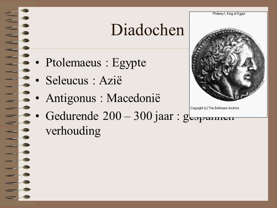 Diadochen •Ptolemaeus : Egypte •Seleucus : Azië •Antigonus : Macedonië •Gedurende 200 – 300 jaar : gespannen verhouding
