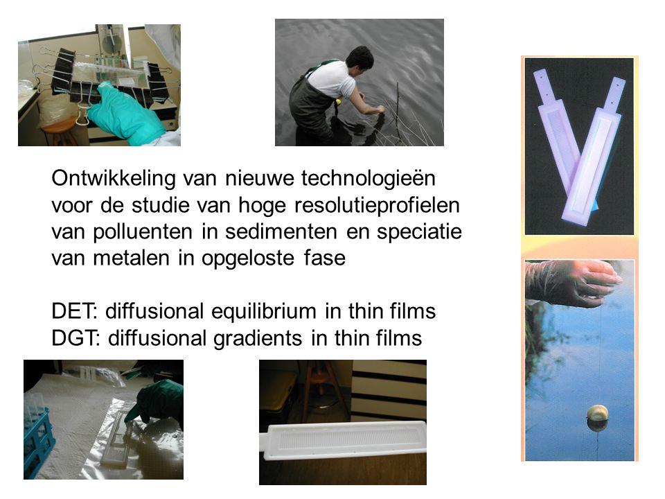Ontwikkeling van nieuwe technologieën voor de studie van hoge resolutieprofielen van polluenten in sedimenten en speciatie van metalen in opgeloste fase DET: diffusional equilibrium in thin films DGT: diffusional gradients in thin films