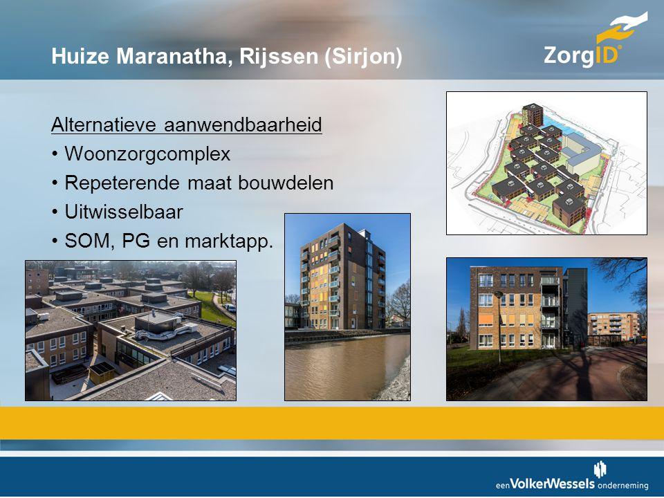 Huize Maranatha, Rijssen (Sirjon) Alternatieve aanwendbaarheid •Woonzorgcomplex •Repeterende maat bouwdelen •Uitwisselbaar •SOM, PG en marktapp.