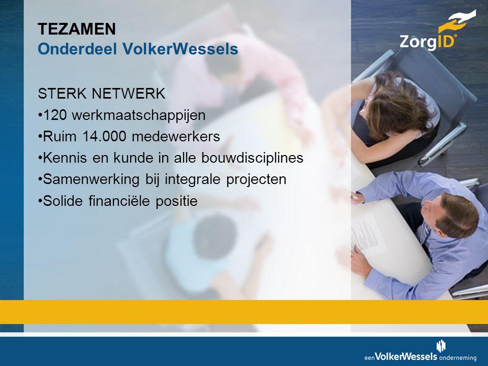 TEZAMEN Onderdeel VolkerWessels STERK NETWERK •120 werkmaatschappijen •Ruim 14.000 medewerkers •Kennis en kunde in alle bouwdisciplines •Samenwerking