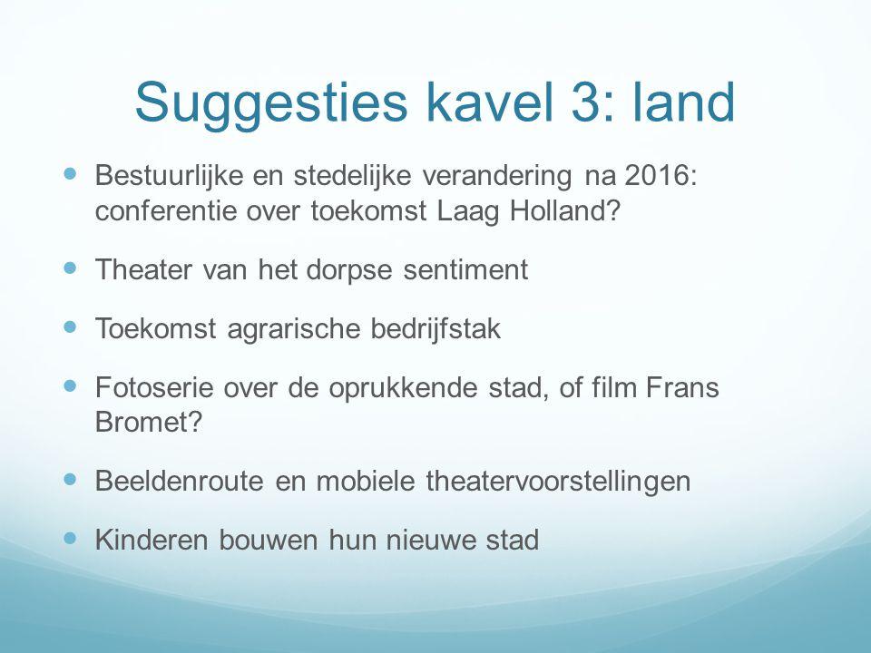 Suggesties kavel 3: land  Bestuurlijke en stedelijke verandering na 2016: conferentie over toekomst Laag Holland.