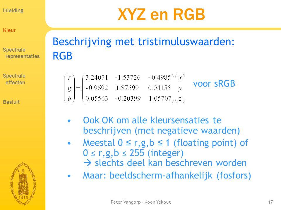 Peter Vangorp - Koen Yskout17 XYZ en RGB Beschrijving met tristimuluswaarden: RGB voor sRGB •Ook OK om alle kleursensaties te beschrijven (met negatieve waarden) •Meestal 0 ≤ r,g,b ≤ 1 (floating point) of 0 ≤ r,g,b ≤ 255 (integer)  slechts deel kan beschreven worden •Maar: beeldscherm-afhankelijk (fosfors) Inleiding Kleur Spectrale representaties Spectrale effecten Besluit