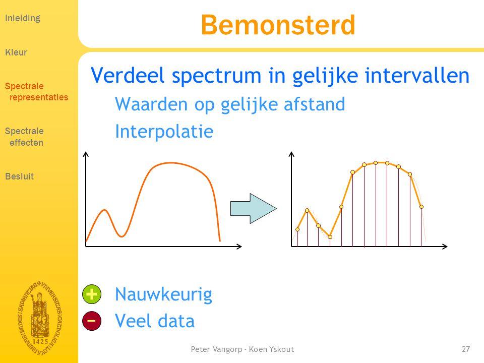 Peter Vangorp - Koen Yskout27 Bemonsterd Verdeel spectrum in gelijke intervallen Waarden op gelijke afstand Interpolatie Nauwkeurig Veel data + − Inleiding Kleur Spectrale representaties Spectrale effecten Besluit