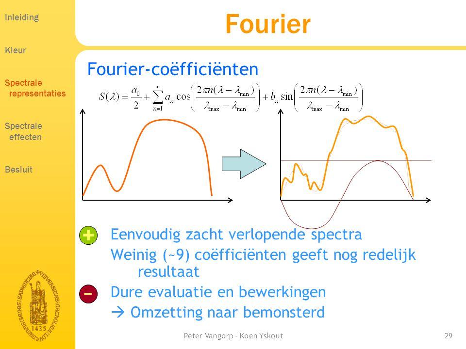 Peter Vangorp - Koen Yskout29 Fourier Fourier-coëfficiënten Eenvoudig zacht verlopende spectra Weinig (~9) coëfficiënten geeft nog redelijk resultaat Dure evaluatie en bewerkingen  Omzetting naar bemonsterd + − Inleiding Kleur Spectrale representaties Spectrale effecten Besluit