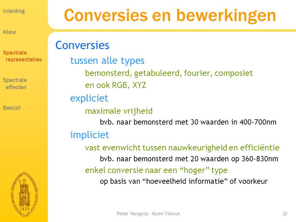 Peter Vangorp - Koen Yskout32 Conversies en bewerkingen Conversies tussen alle types bemonsterd, getabuleerd, fourier, composiet en ook RGB, XYZ expliciet maximale vrijheid bvb.