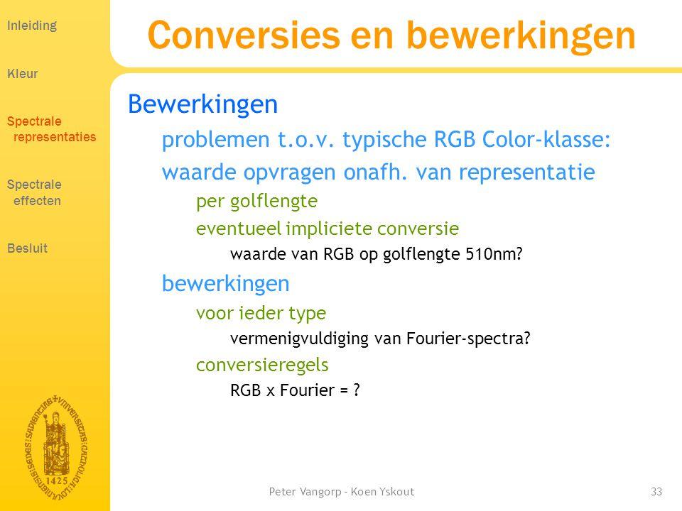 Peter Vangorp - Koen Yskout33 Conversies en bewerkingen Inleiding Kleur Spectrale representaties Spectrale effecten Besluit Bewerkingen problemen t.o.v.