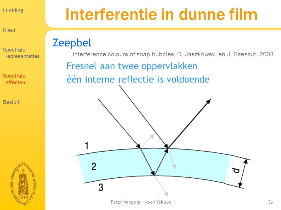 Peter Vangorp - Koen Yskout36 Zeepbel Fresnel aan twee oppervlakken één interne reflectie is voldoende Interferentie in dunne film Inleiding Kleur Spectrale representaties Spectrale effecten Besluit Interference colours of soap bubbles, D.