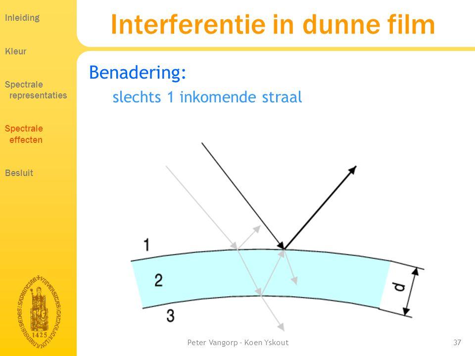 Peter Vangorp - Koen Yskout37 Benadering: slechts 1 inkomende straal Interferentie in dunne film Inleiding Kleur Spectrale representaties Spectrale effecten Besluit