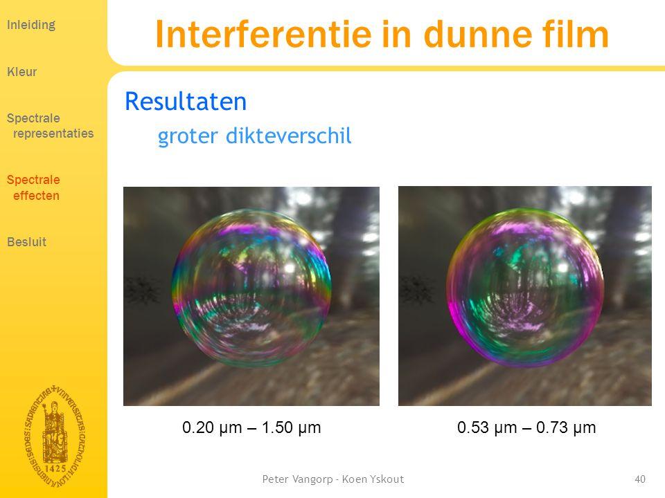 Peter Vangorp - Koen Yskout40 Interferentie in dunne film Resultaten groter dikteverschil Inleiding Kleur Spectrale representaties Spectrale effecten Besluit 0.20 µm – 1.50 µm0.53 µm – 0.73 µm