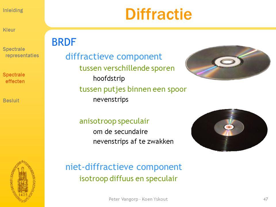 Peter Vangorp - Koen Yskout47 Diffractie BRDF diffractieve component tussen verschillende sporen hoofdstrip tussen putjes binnen een spoor nevenstrips anisotroop speculair om de secundaire nevenstrips af te zwakken niet-diffractieve component isotroop diffuus en speculair Inleiding Kleur Spectrale representaties Spectrale effecten Besluit
