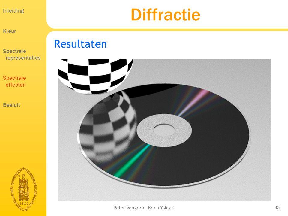 Peter Vangorp - Koen Yskout48 Diffractie Resultaten Inleiding Kleur Spectrale representaties Spectrale effecten Besluit