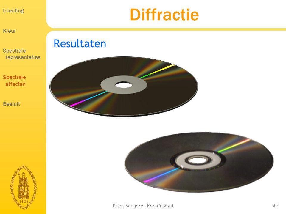 Peter Vangorp - Koen Yskout49 Diffractie Resultaten Inleiding Kleur Spectrale representaties Spectrale effecten Besluit