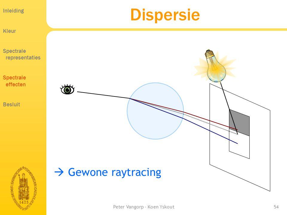 Peter Vangorp - Koen Yskout54  Gewone raytracing Dispersie Inleiding Kleur Spectrale representaties Spectrale effecten Besluit