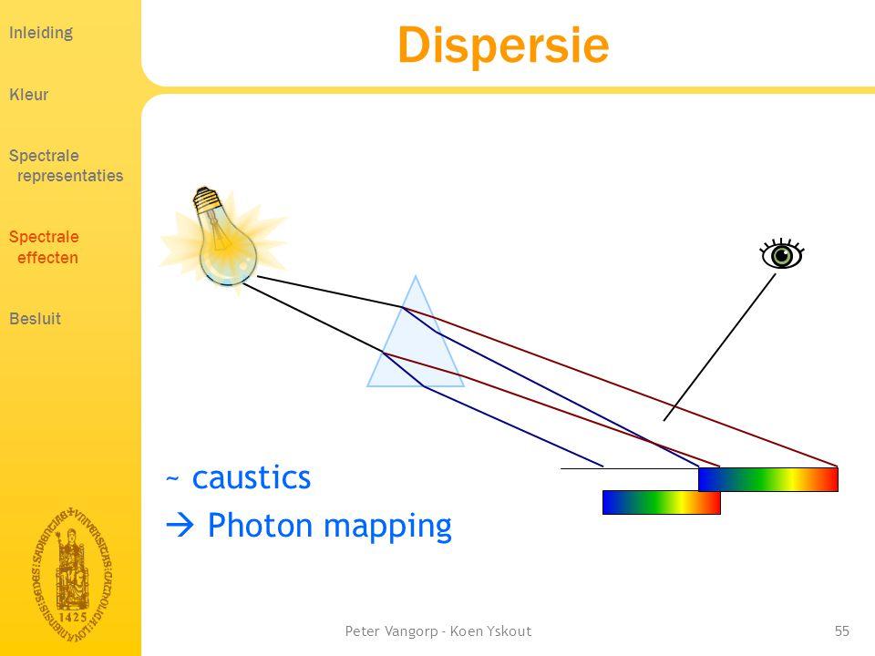 Peter Vangorp - Koen Yskout55 ~ caustics  Photon mapping Dispersie Inleiding Kleur Spectrale representaties Spectrale effecten Besluit