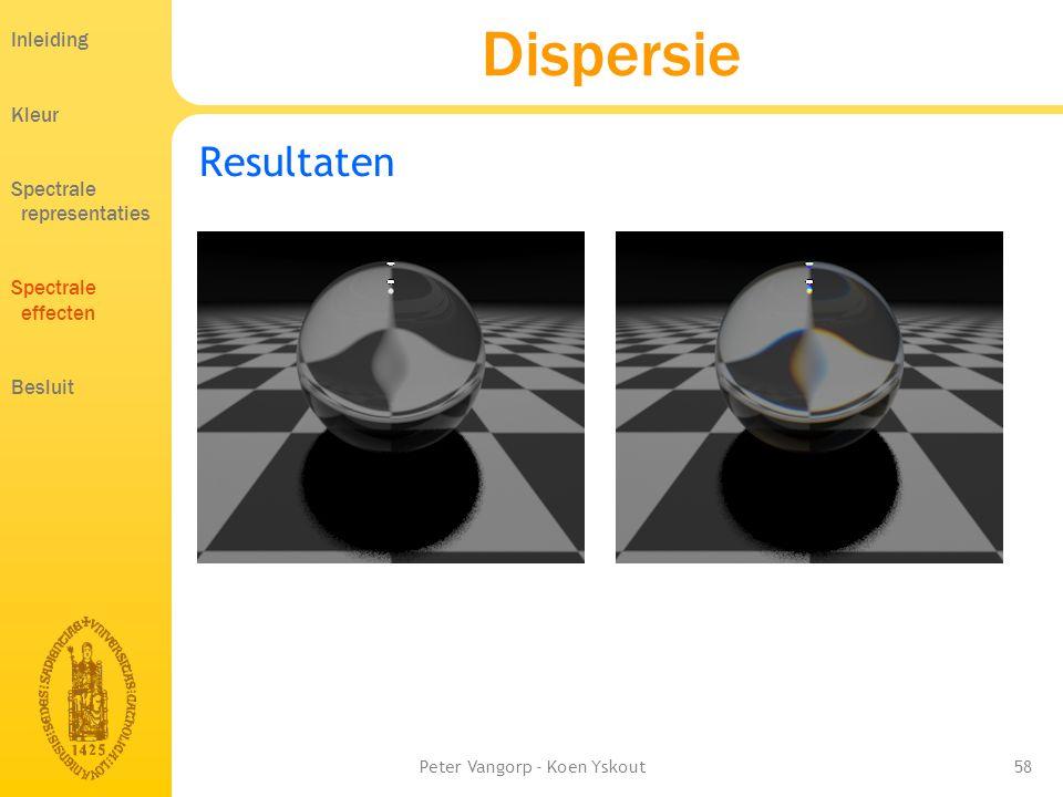 Peter Vangorp - Koen Yskout58 Dispersie Resultaten Inleiding Kleur Spectrale representaties Spectrale effecten Besluit