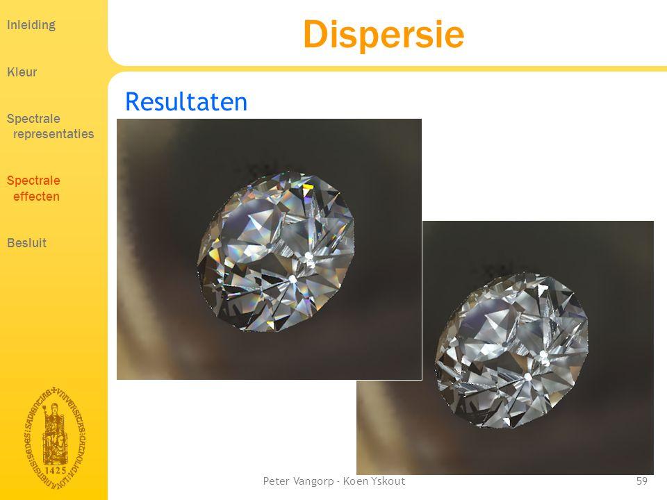 Peter Vangorp - Koen Yskout59 Dispersie Resultaten Inleiding Kleur Spectrale representaties Spectrale effecten Besluit