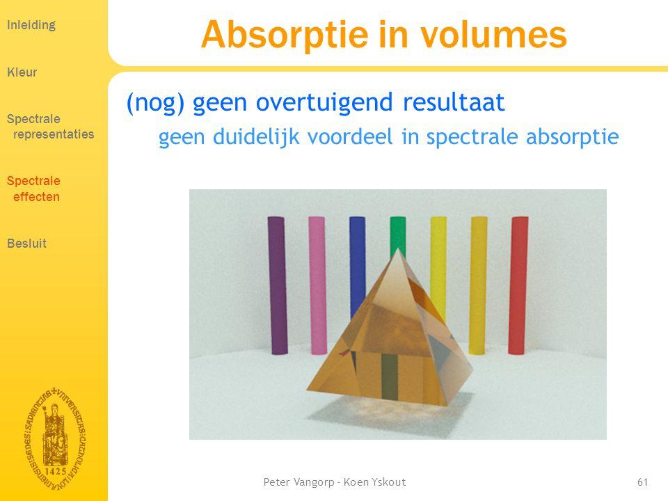 Peter Vangorp - Koen Yskout61 Absorptie in volumes (nog) geen overtuigend resultaat geen duidelijk voordeel in spectrale absorptie Inleiding Kleur Spectrale representaties Spectrale effecten Besluit