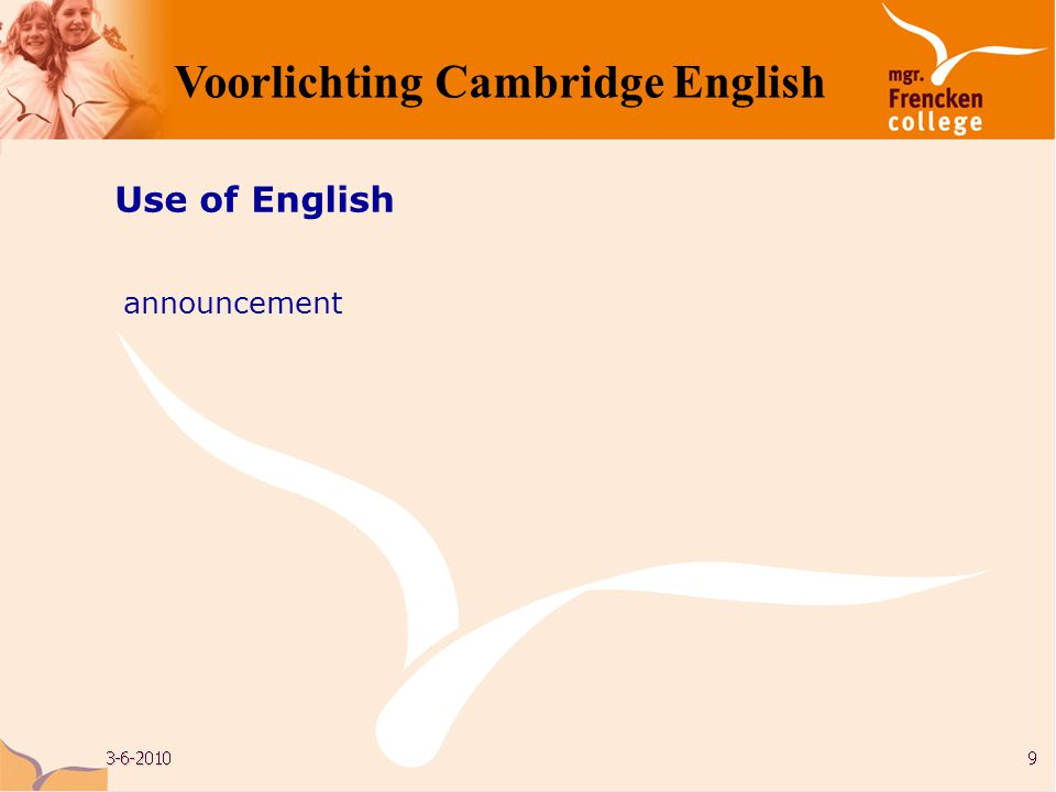 Use of English announcement Voorlichting Cambridge English