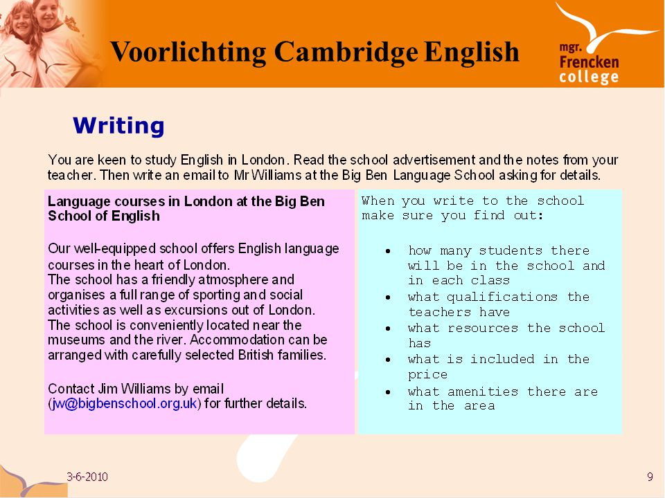 Writing Voorlichting Cambridge English
