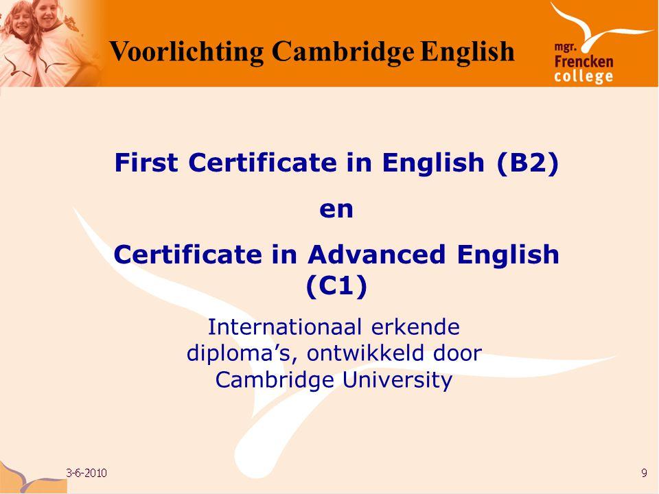 Cambridge University, UK Voorlichting Cambridge English