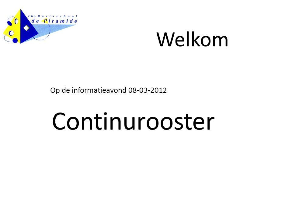 Op de informatieavond 08-03-2012 Continurooster Welkom