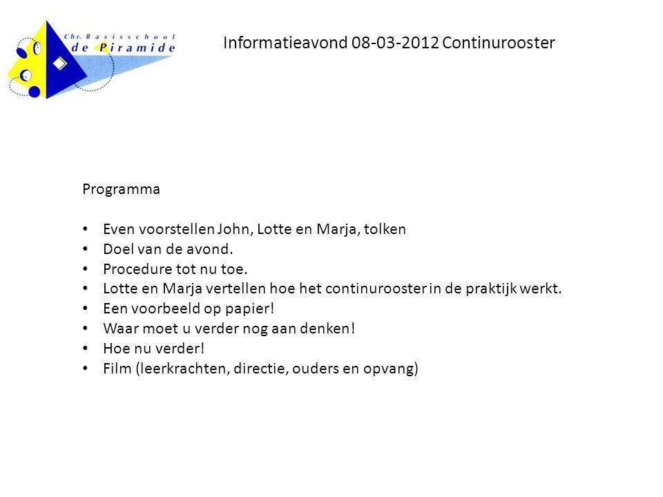 Informatieavond 08-03-2012 Continurooster Programma • Even voorstellen John, Lotte en Marja, tolken • Doel van de avond.