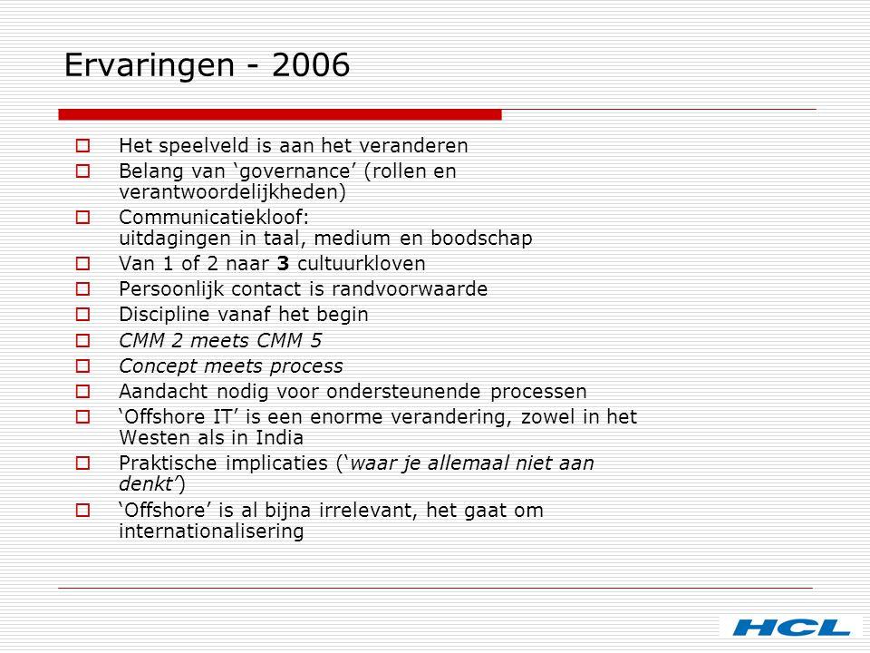 Ervaringen - 2006  Het speelveld is aan het veranderen  Belang van 'governance' (rollen en verantwoordelijkheden)  Communicatiekloof: uitdagingen i