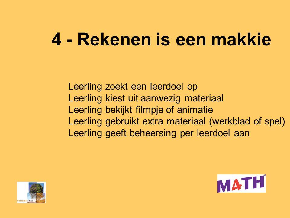 4 - Rekenen is een makkie Leerkracht begeleidt leerlingen Eerst samen, daarna in kleine groepjes/individueel Begeleidingstijd groep 3 > groep 5 Lk geeft leerlingen verantwoordelijkheid en vertrouwen = andere rol leerkracht wordt coach!