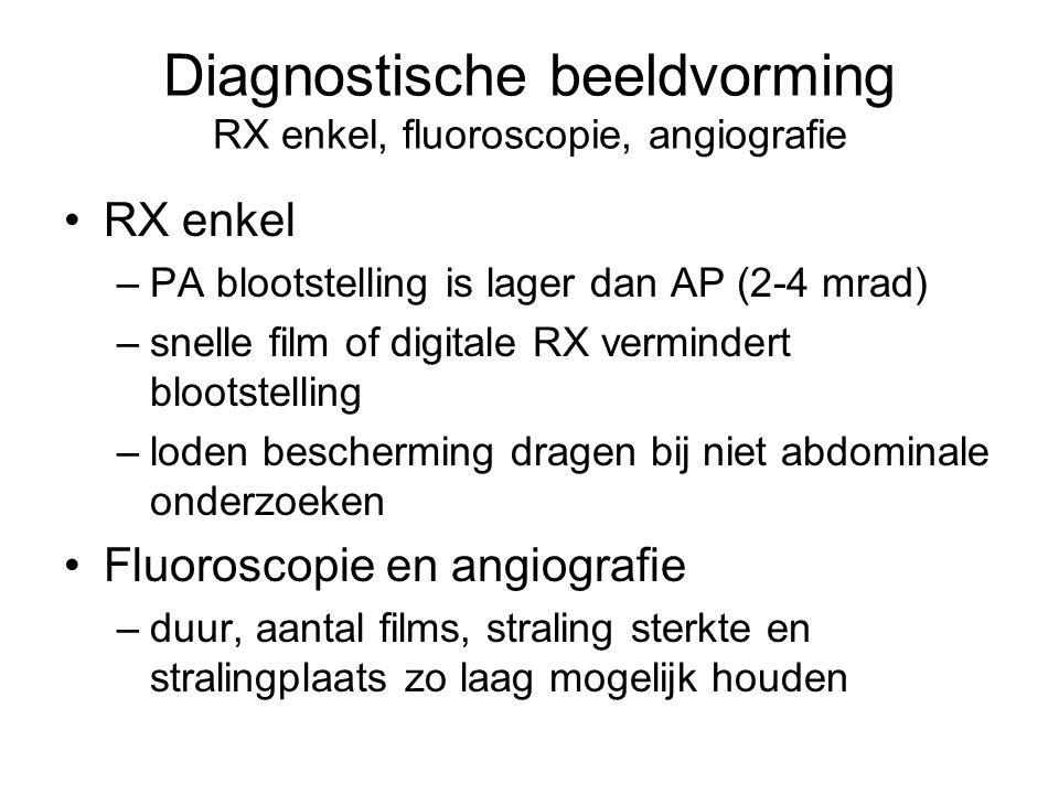 Diagnostische beeldvorming RX enkel, fluoroscopie, angiografie •RX enkel –PA blootstelling is lager dan AP (2-4 mrad) –snelle film of digitale RX vermindert blootstelling –loden bescherming dragen bij niet abdominale onderzoeken •Fluoroscopie en angiografie –duur, aantal films, straling sterkte en stralingplaats zo laag mogelijk houden