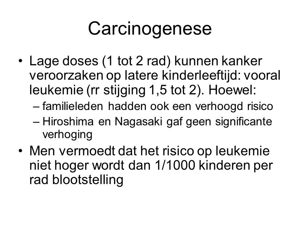 Carcinogenese •Lage doses (1 tot 2 rad) kunnen kanker veroorzaken op latere kinderleeftijd: vooral leukemie (rr stijging 1,5 tot 2).