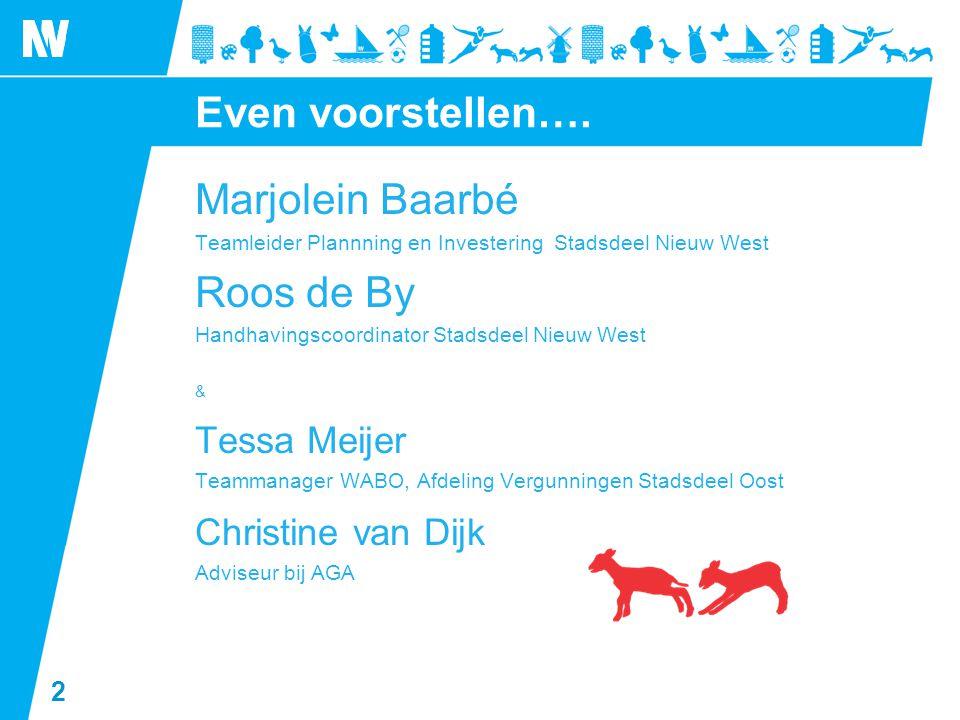 2 Even voorstellen…. Marjolein Baarbé Teamleider Plannning en Investering Stadsdeel Nieuw West Roos de By Handhavingscoordinator Stadsdeel Nieuw West
