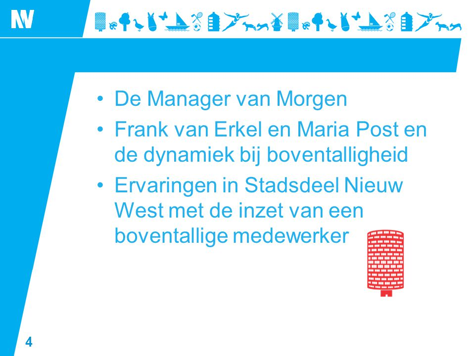 4 •De Manager van Morgen •Frank van Erkel en Maria Post en de dynamiek bij boventalligheid •Ervaringen in Stadsdeel Nieuw West met de inzet van een bo