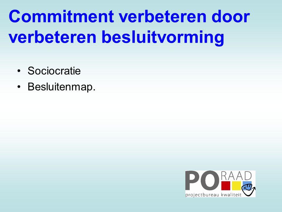 Commitment verbeteren door verbeteren besluitvorming •Sociocratie •Besluitenmap.