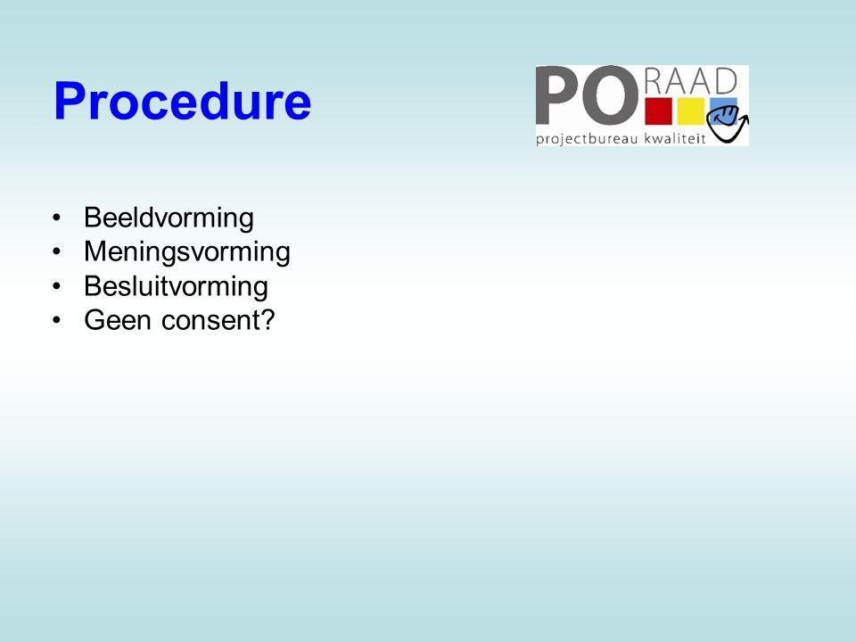 Procedure •Beeldvorming •Meningsvorming •Besluitvorming •Geen consent?