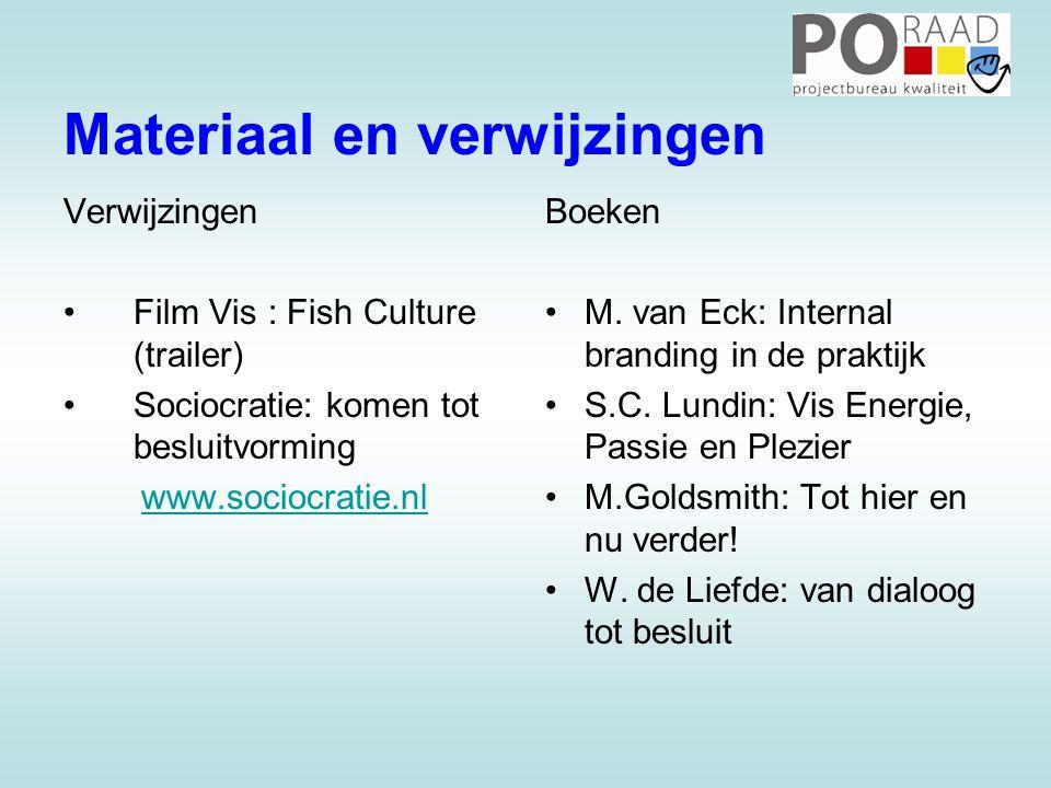 Materiaal en verwijzingen Verwijzingen •Film Vis : Fish Culture (trailer) •Sociocratie: komen tot besluitvorming www.sociocratie.nl Boeken •M.