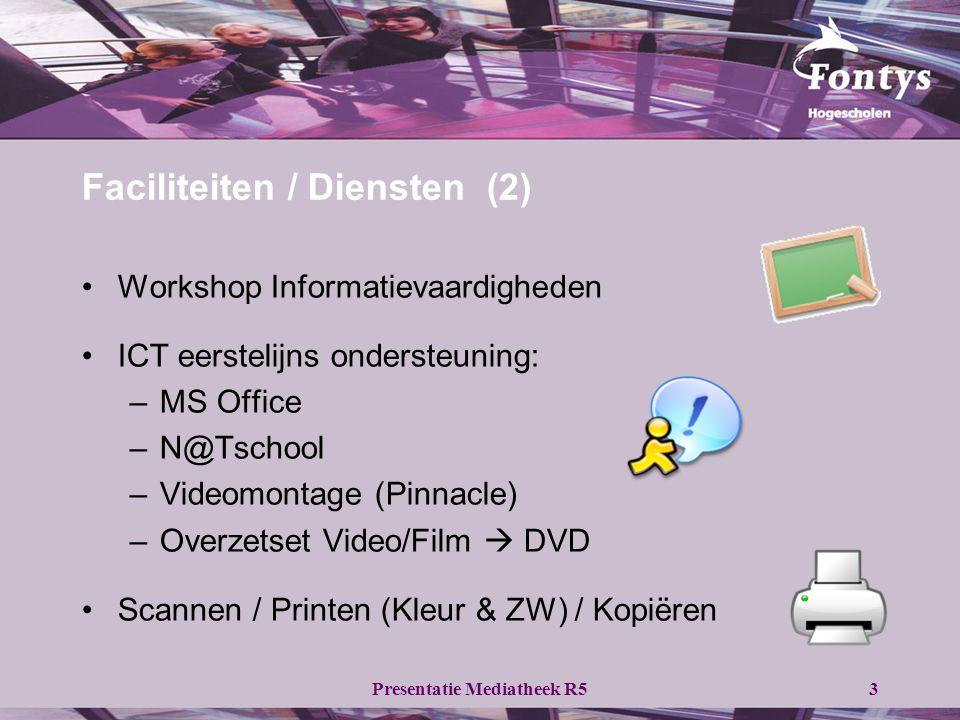 Presentatie Mediatheek R53 •Workshop Informatievaardigheden •ICT eerstelijns ondersteuning: –MS Office –N@Tschool –Videomontage (Pinnacle) –Overzetset Video/Film  DVD •Scannen / Printen (Kleur & ZW) / Kopiëren Faciliteiten / Diensten (2)