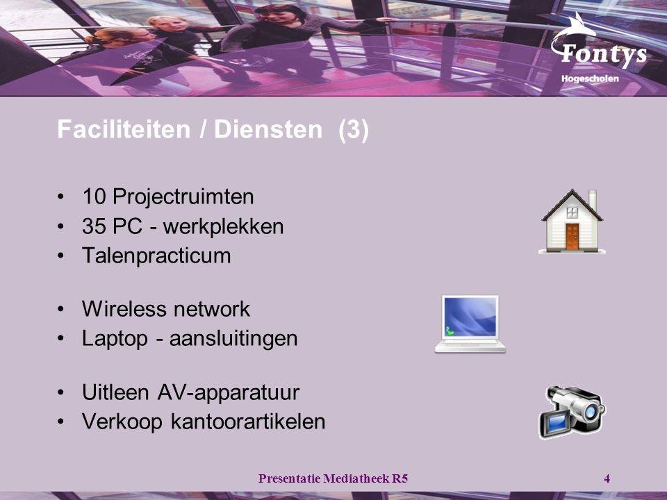Presentatie Mediatheek R54 Faciliteiten / Diensten (3) •10 Projectruimten •35 PC - werkplekken •Talenpracticum •Wireless network •Laptop - aansluitingen •Uitleen AV-apparatuur •Verkoop kantoorartikelen