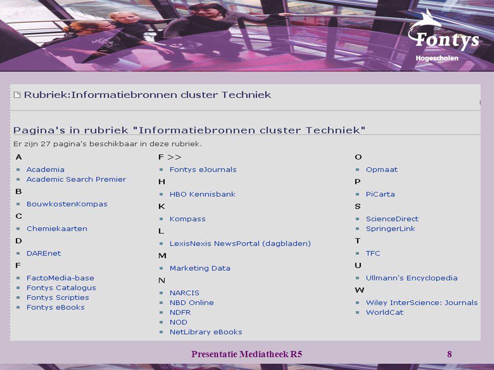 Presentatie Mediatheek R58 Overzicht Informatiebronnen