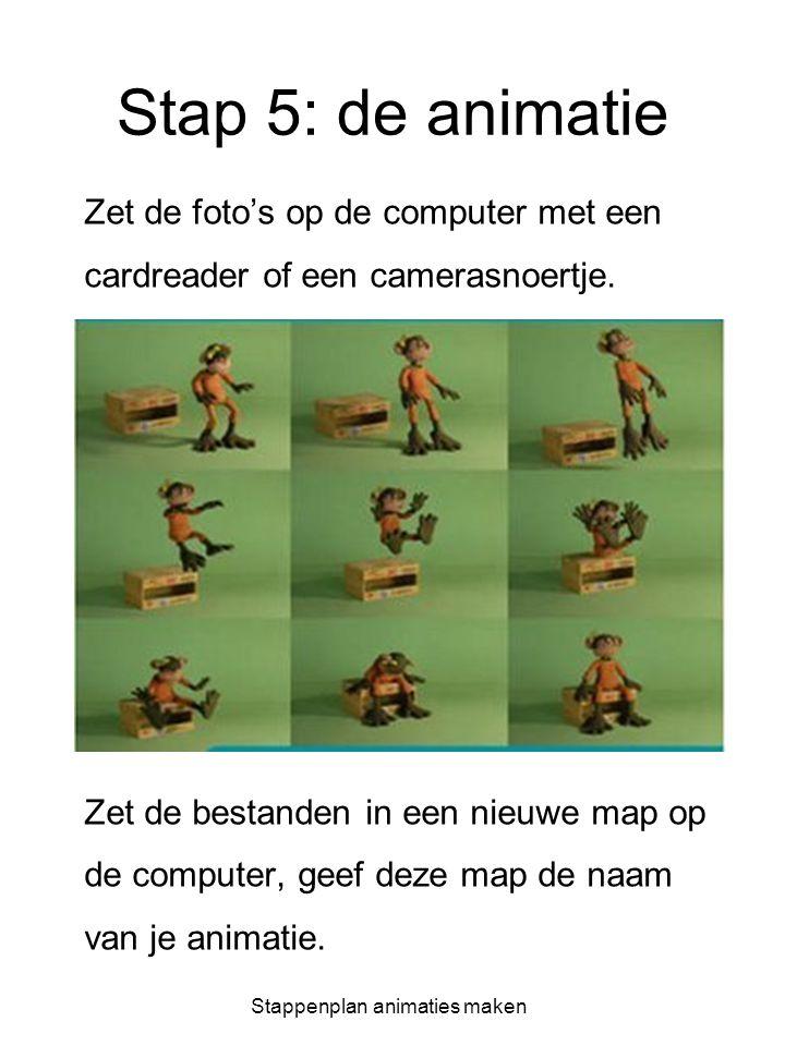 Stappenplan animaties maken Stap 5: de animatie Zet de foto's op de computer met een cardreader of een camerasnoertje. Zet de bestanden in een nieuwe